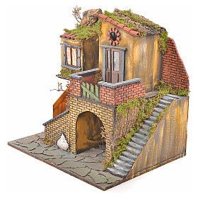 Borgo presepe napoletano stile 700 con forno e luce 47x50x41 s7