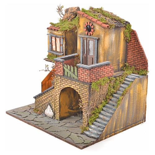 Borgo presepe napoletano stile 700 con forno e luce 47x50x41 11