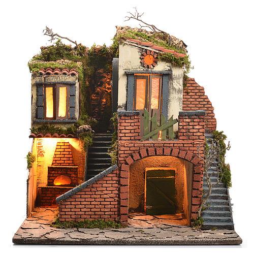 Borgo presepe napoletano stile 700 con forno e luce 47x50x41 1