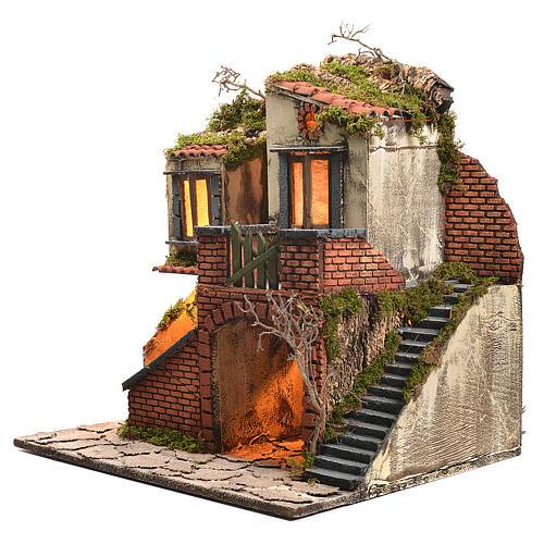 Borgo presepe napoletano stile 700 con forno e luce 47x50x41 2