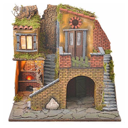 Borgo presepe napoletano stile 700 con forno e luce 47x50x41 5