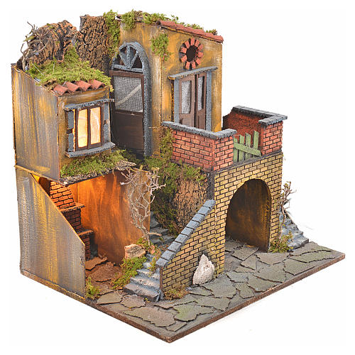 Borgo presepe napoletano stile 700 con forno e luce 47x50x41 6