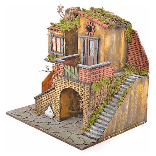 Borgo presepe napoletano stile 700 con forno e luce 47x50x41 7