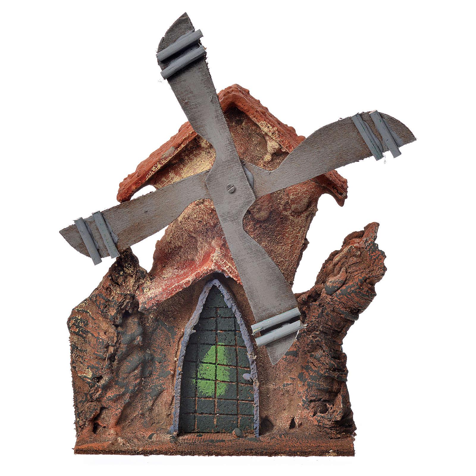 Décor crèche Napolitaine moulin à vent stucqué 23x23x20cm 4