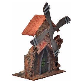 Décor crèche Napolitaine moulin à vent stucqué 23x23x20cm s2