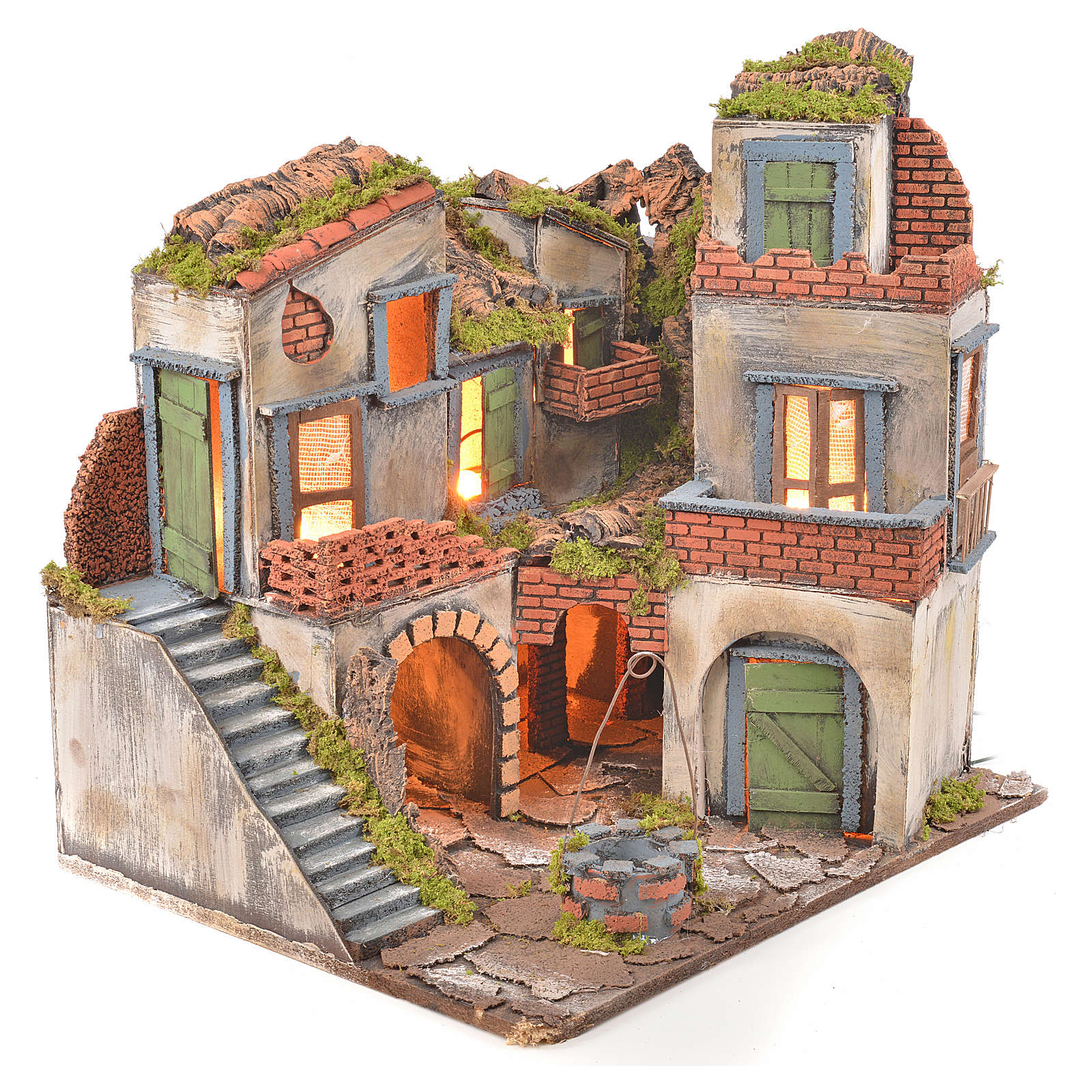 Neapolitan Nativity Village, 1700 style with well and light 45x55x38cm 4