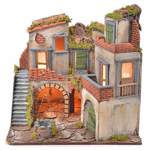 Borgo presepe napoletano stile 700 con pozzo e luce 45x55x38 1
