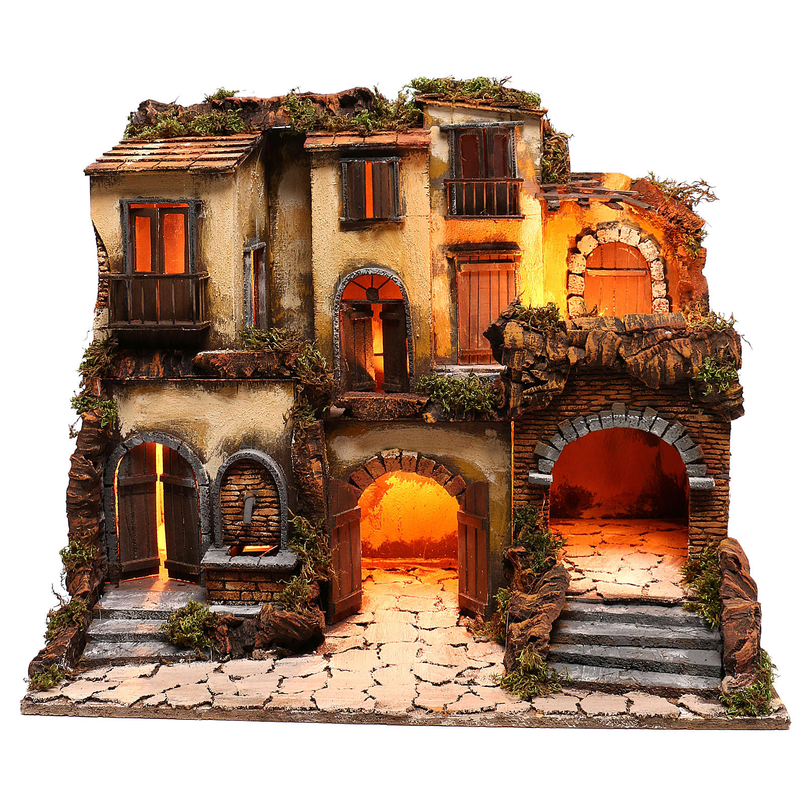 Neapolitan nativity village, 1700 style with fountain and lights 4