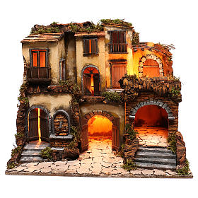Neapolitan nativity village, 1700 style with fountain and lights s1
