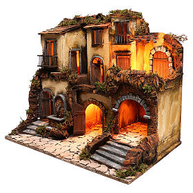 Neapolitan nativity village, 1700 style with fountain and lights s2