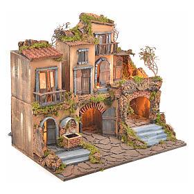Escenografía belén napolitano estilo 700 con fuente y luz s2