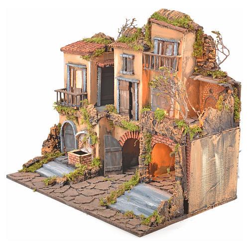 Escenografía belén napolitano estilo 700 con fuente y luz 3