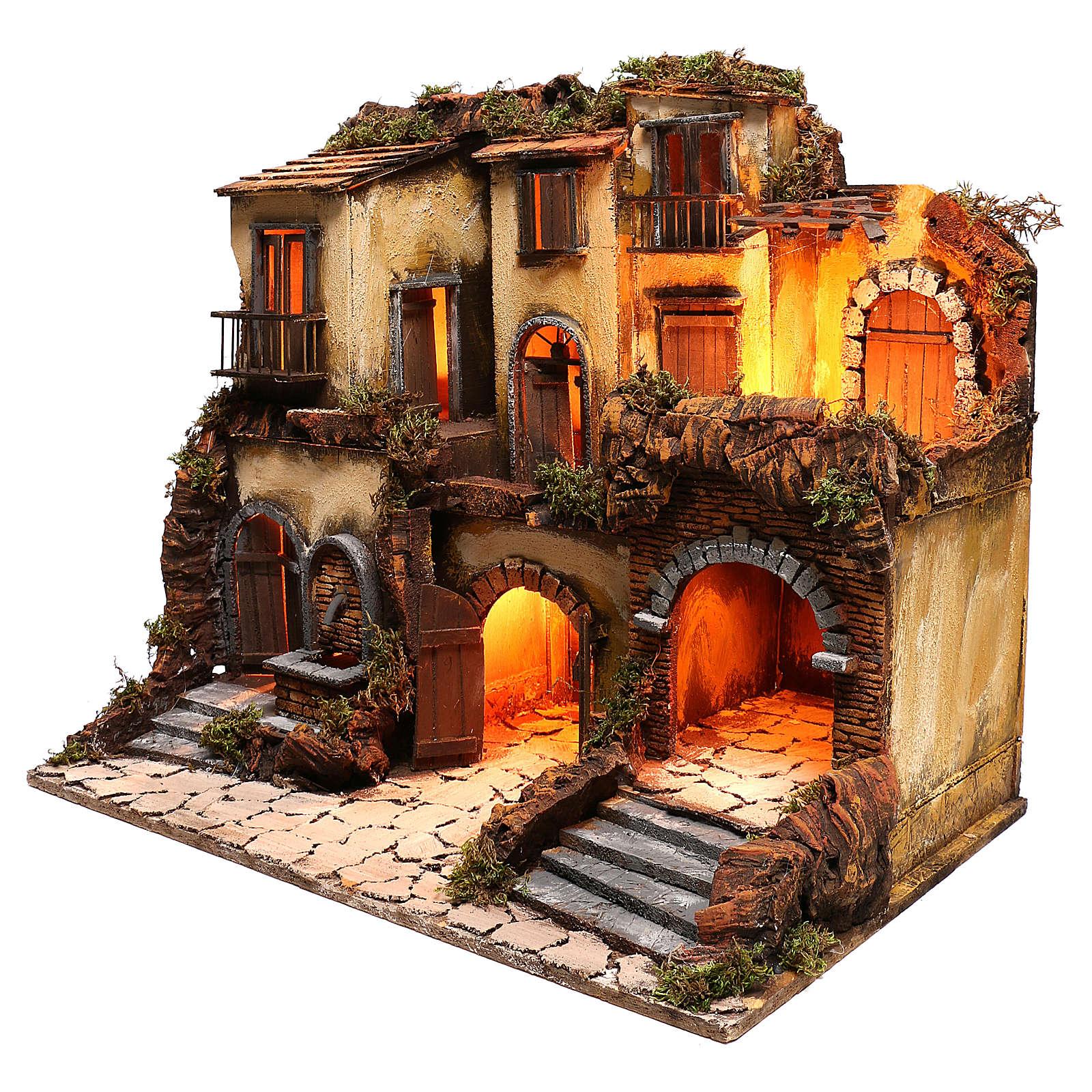 Borgo presepe napoletano stile 700 con fontana e luce 53x60x43 4