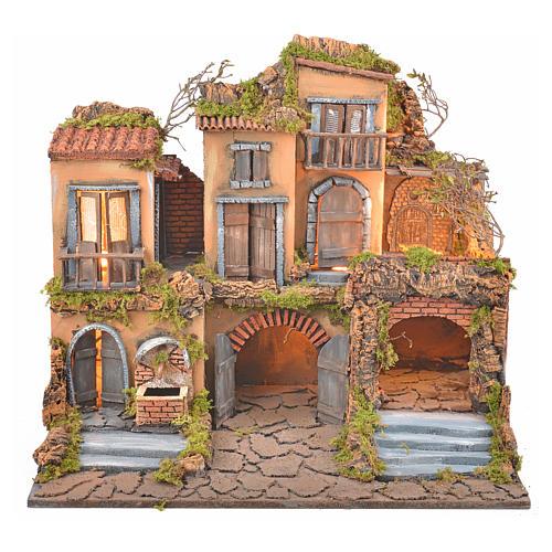 Borgo presepe napoletano stile 700 con fontana e luce 53x60x43 1