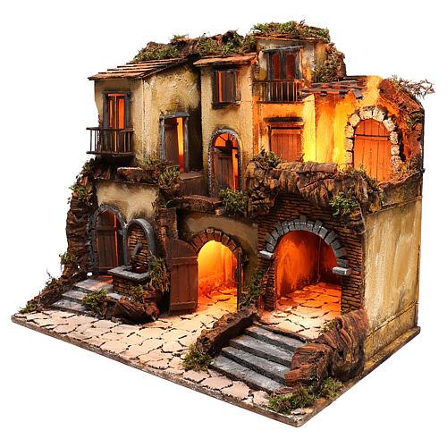 Borgo presepe napoletano stile 700 con fontana e luce 53x60x43 2