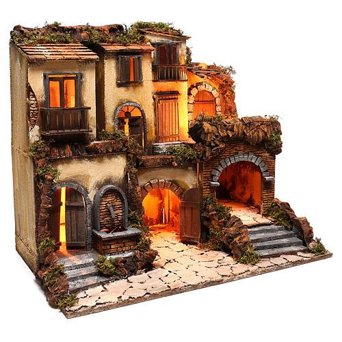 Borgo presepe napoletano stile 700 con fontana e luce 53x60x43 3