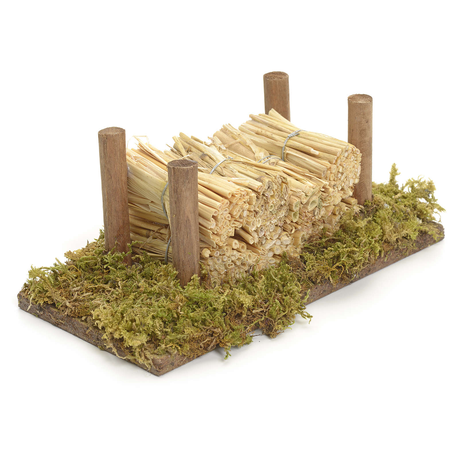 Nativity accessory, wood stack on moss with straw 4