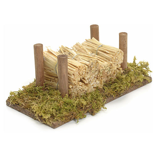 Nativity accessory, wood stack on moss with straw 2