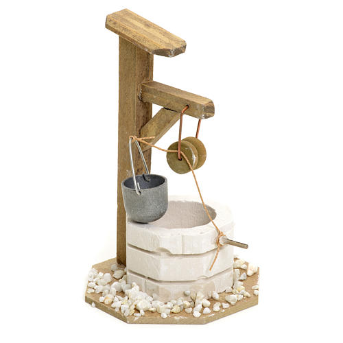 Nativity setting, well in plaster with pulley 1