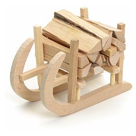 Acessórios de Casa para Presépio: Trenó em madeira para presépio