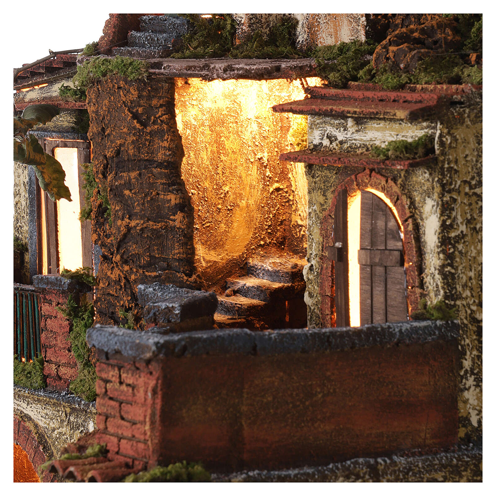 Borgo presepe napoletano stile 700 con luce 45x49x37 4