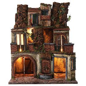 Borgo presepe napoletano stile 700 con luce 45x49x37 s1