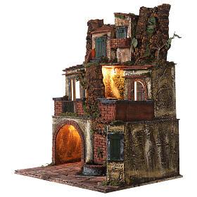 Borgo presepe napoletano stile 700 con luce 45x49x37 s3