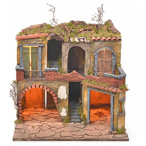 Borgo presepe napoletano stile 700 con luce 45x49x37 1