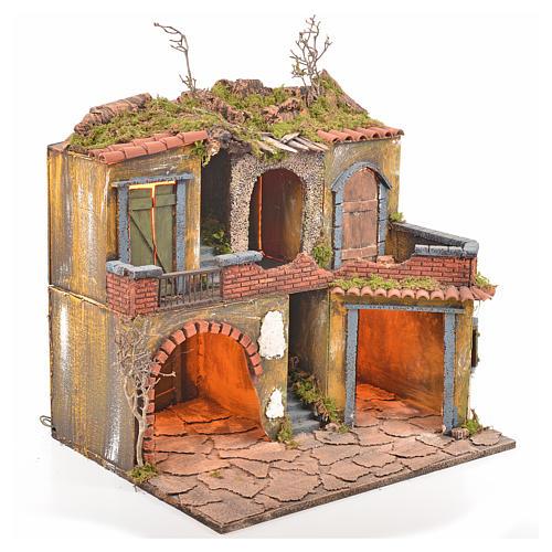 Borgo presepe napoletano stile 700 con luce 45x49x37 2