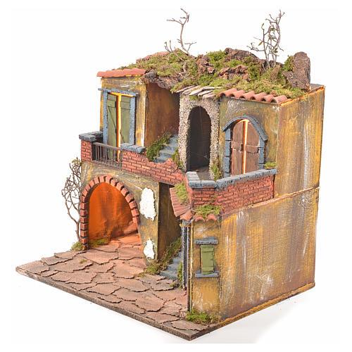 Borgo presepe napoletano stile 700 con luce 45x49x37 3
