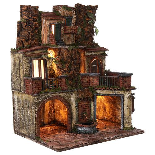 Borgo presepe napoletano stile 700 con luce 45x49x37 5
