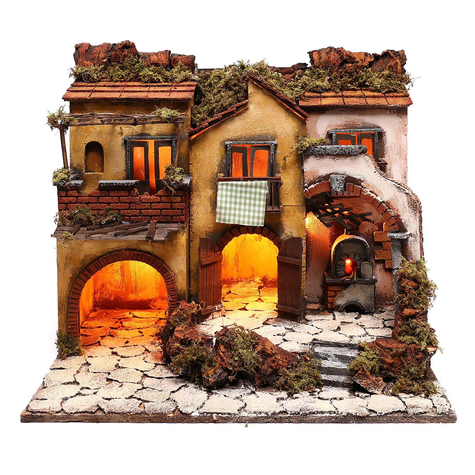 Neapolitan Nativity, village with 3 houses and light 57x50x40cm 4