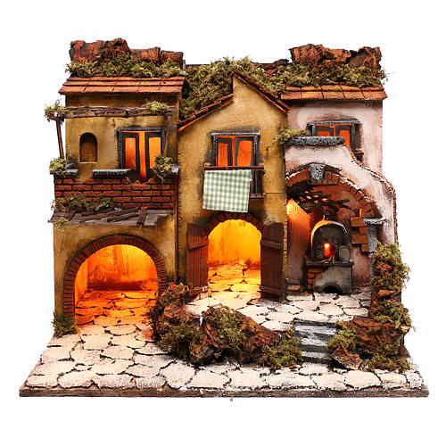 Neapolitan Nativity, village with 3 houses and light 57x50x40cm 1