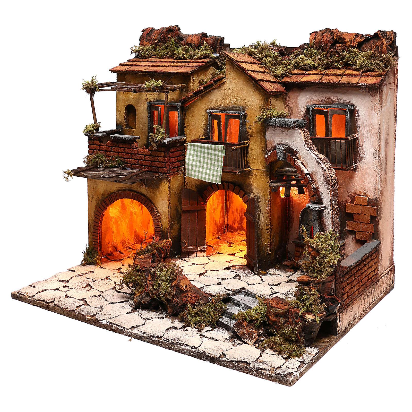 Escenografía belén napolitano estilo 700 con 3 casas y luces 4