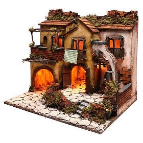 Escenografía belén napolitano estilo 700 con 3 casas y luces s2