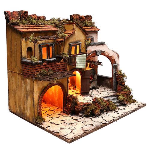 Escenografía belén napolitano estilo 700 con 3 casas y luces 3