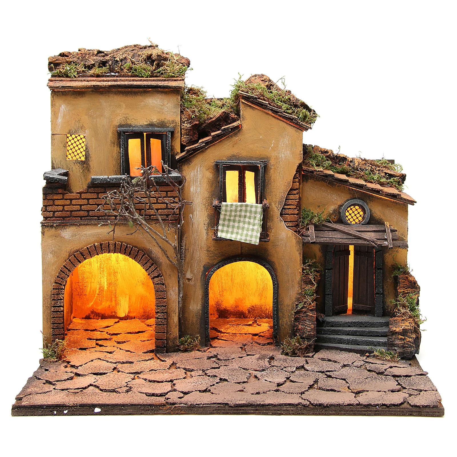 Borgo presepe napoletano stile 700 con 3 case e luce 57x50x40 4