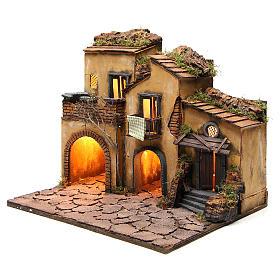 Borgo presepe napoletano stile 700 con 3 case e luce 57x50x40 s14