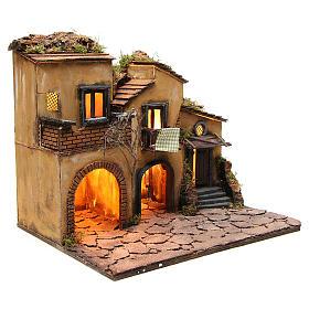 Borgo presepe napoletano stile 700 con 3 case e luce 57x50x40 s15