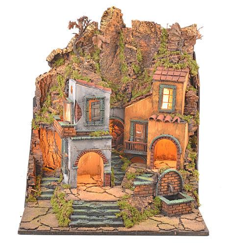 Borgo presepe napoletano stile 700 con 3 case e luce 57x50x40 9