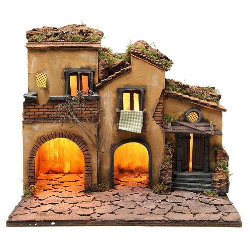 Borgo presepe napoletano stile 700 con 3 case e luce 57x50x40 13
