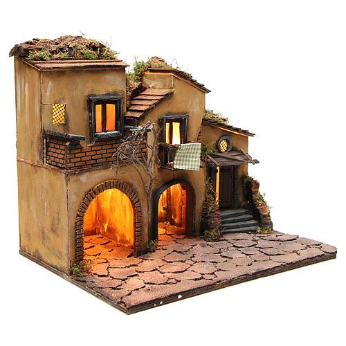 Borgo presepe napoletano stile 700 con 3 case e luce 57x50x40 15