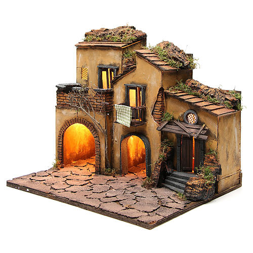 Borgo presepe napoletano stile 700 con 3 case e luce 57x50x40 2