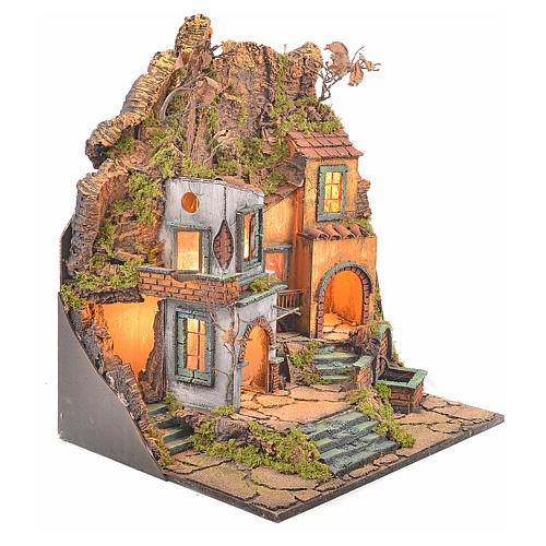 Borgo presepe napoletano stile 700 con 3 case e luce 57x50x40 6
