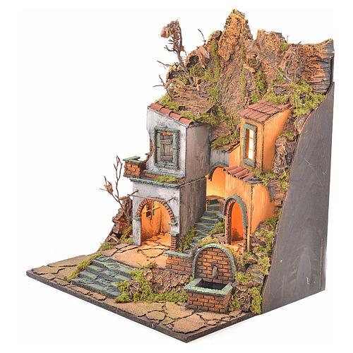 Borgo presepe napoletano stile 700 con 3 case e luce 57x50x40 7