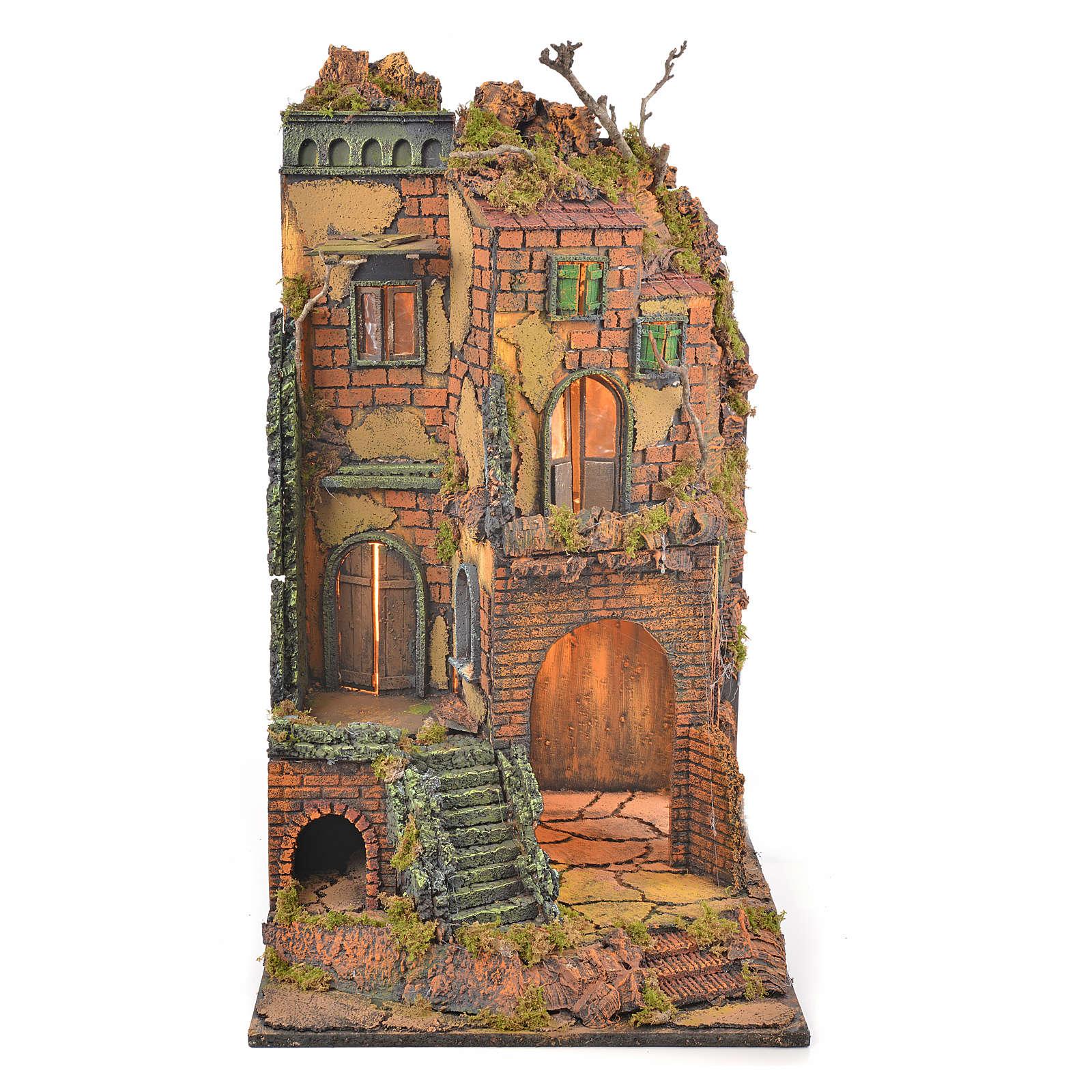 Décor crèche napolitaine éclairé bourg avec escalier 65x45x3 4