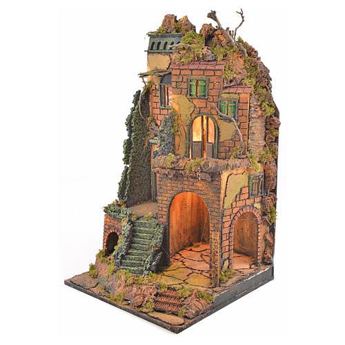 Borgo presepe napoletano stile 700 torre scale luce 65x45x37 2