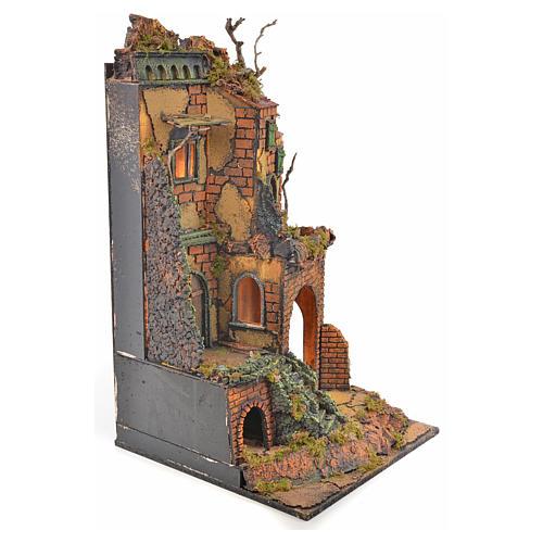 Borgo presepe napoletano stile 700 torre scale luce 65x45x37 3