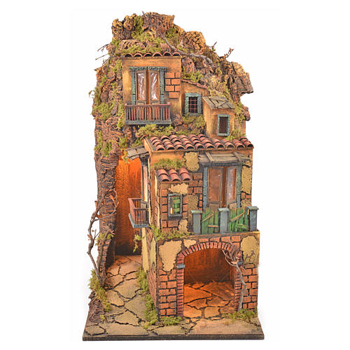Borgo presepe napoletano stile 700 torre luce 65x45x37 1