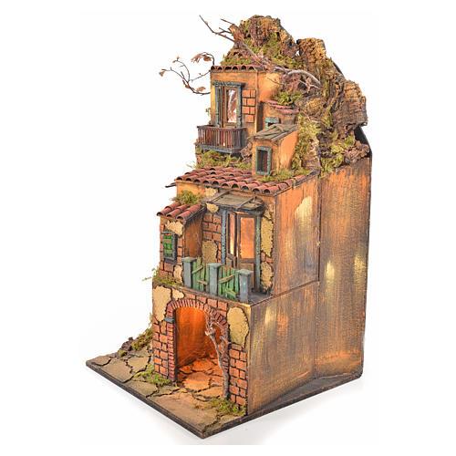 Borgo presepe napoletano stile 700 torre luce 65x45x37 2